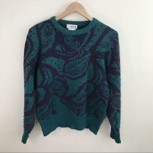 Aston Paisley Teal Oversized Leaf Vintage Sweater